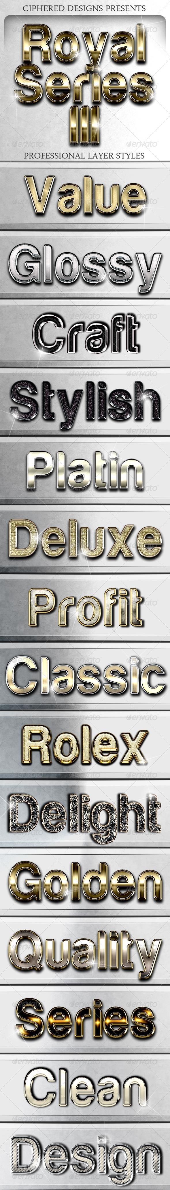 Royal Series III - Professional Layer Styles - Text Effects Styles
