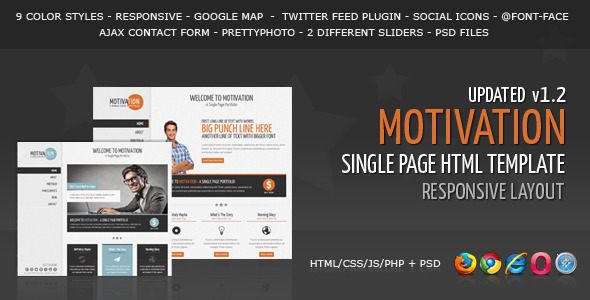 Motivation - Responsive Single Page HTML Template - Creative Site Templates