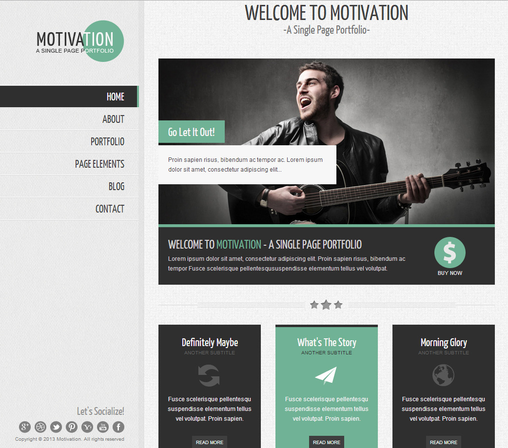 Motivation - Responsive Single Page HTML Template