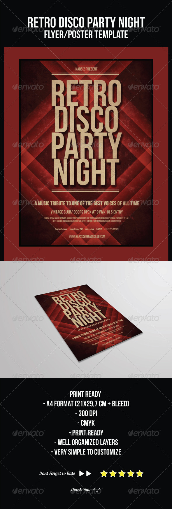 GraphicRiver Retro Disco Party Night Flyer Poster Templates 4289636