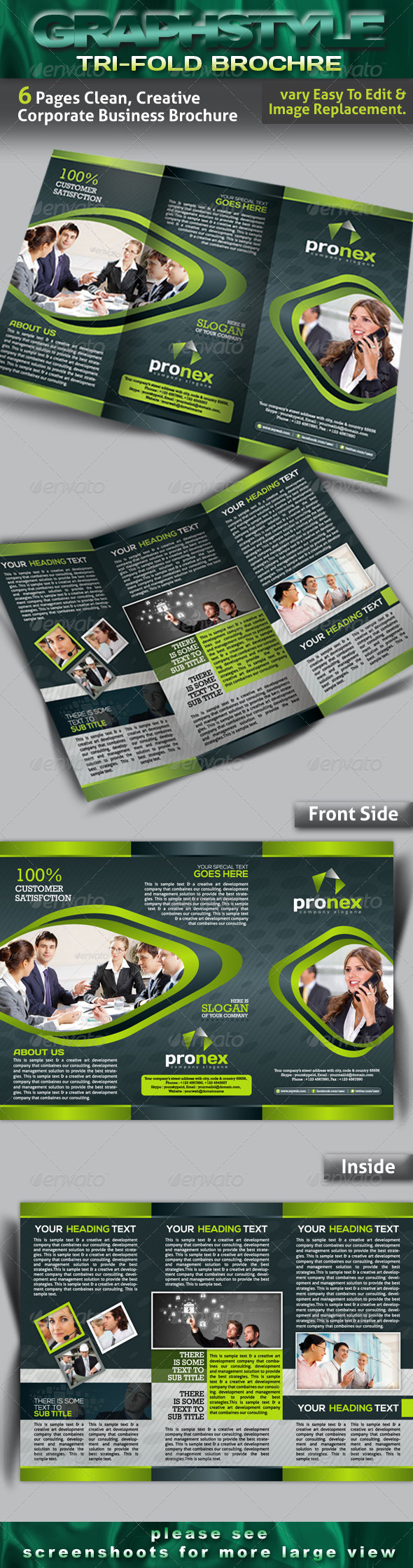 GraphicRiver Pronex Tri-fold Corporate Business Brochure 4289951