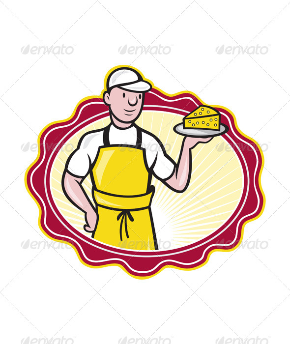 GraphicRiver Cheesemaker Holding Plate of Cheese 4291336