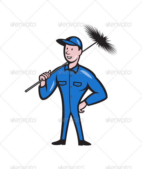 GraphicRiver Chimney Sweeper Cleaner Worker Retro 4291395