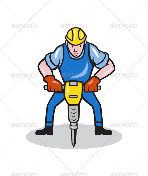 GraphicRiver Construction Worker Jackhammer Pneumatic Drill 4291419