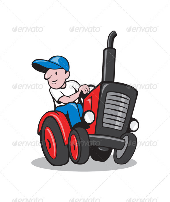 Farmer Driving Vintage Tractor Cartoon