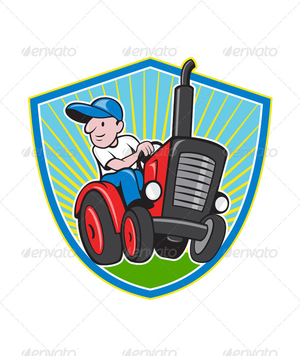 GraphicRiver Farmer Driving Vintage Tractor Cartoon 4291426