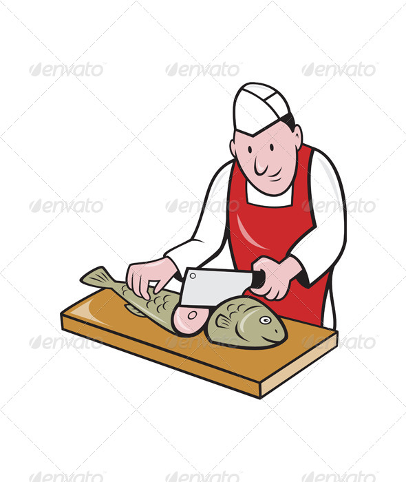 GraphicRiver Sushi Chef Butcher Fishmonger Cartoon 4291430