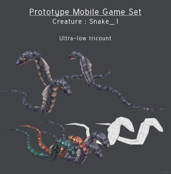 Prototype Mobile Game Set - Creature : Snake_1 - 3DOcean Item for Sale
