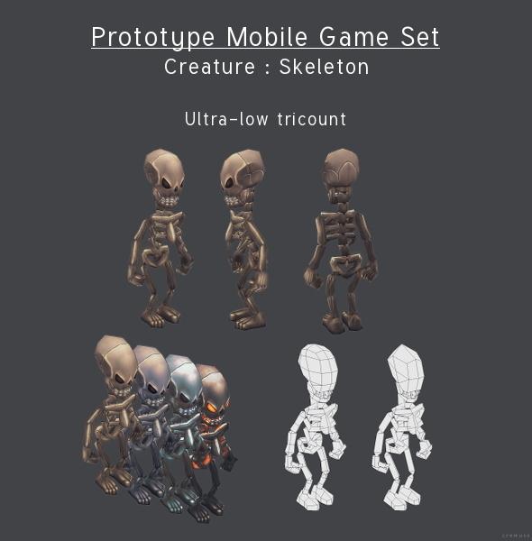 3DOcean Prototype Mobile Game Set Creature Skeleton 4291617
