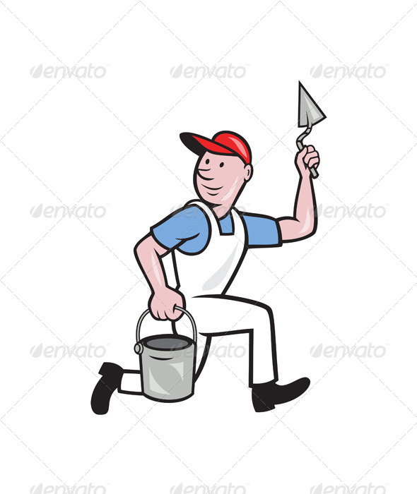 GraphicRiver Plaster Masonry Worker Cartoon 4291618