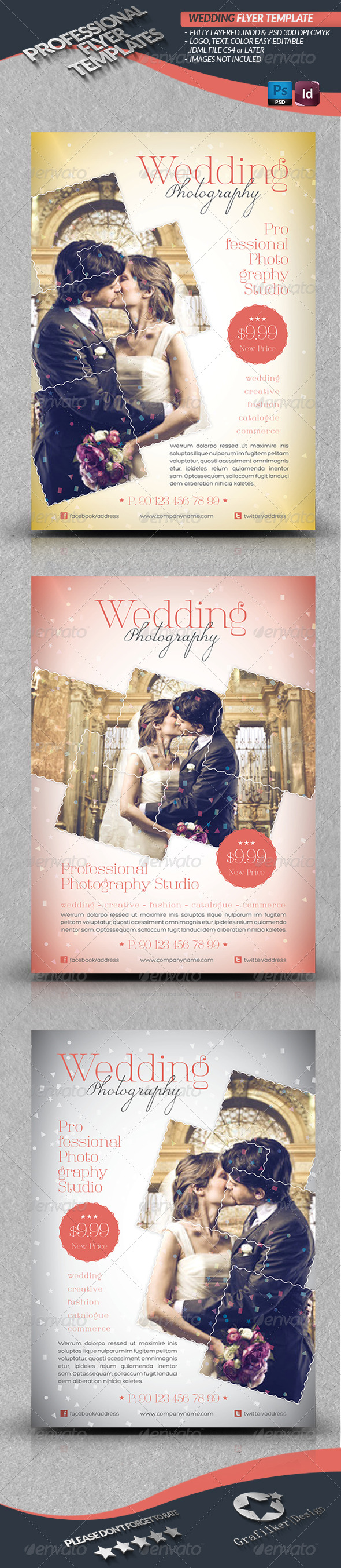 GraphicRiver Wedding Photography Flyer Template 4291621