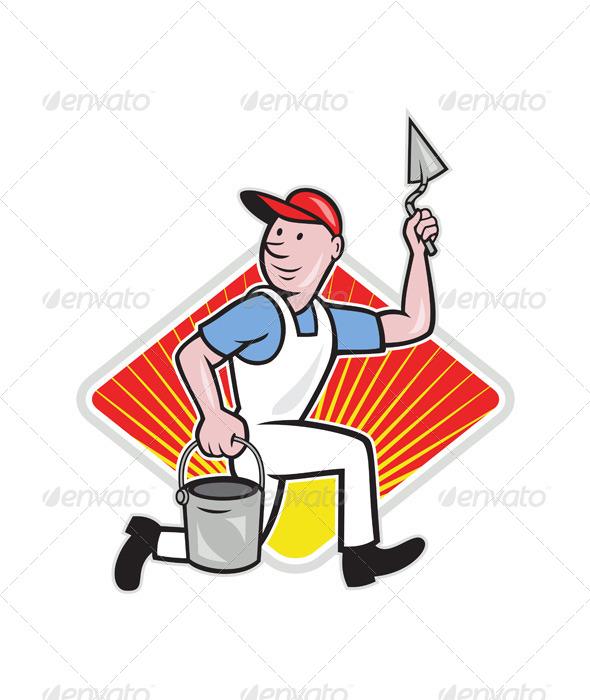 GraphicRiver Plaster Masonry Worker Cartoon 4291625