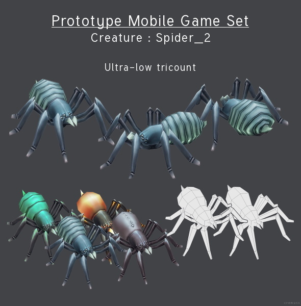 3DOcean Prototype Mobile Game Set Creature Spider 2 4291631