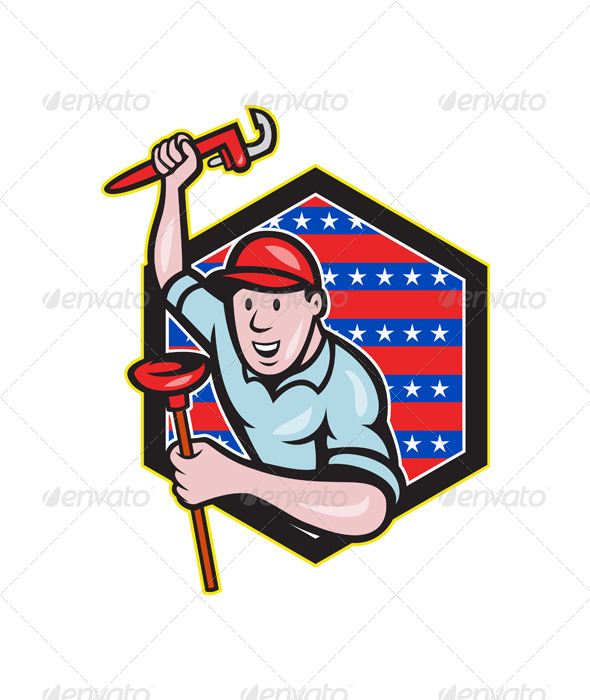 GraphicRiver Plumber With Monkey Wrench and Plunger Cartoon 4291636