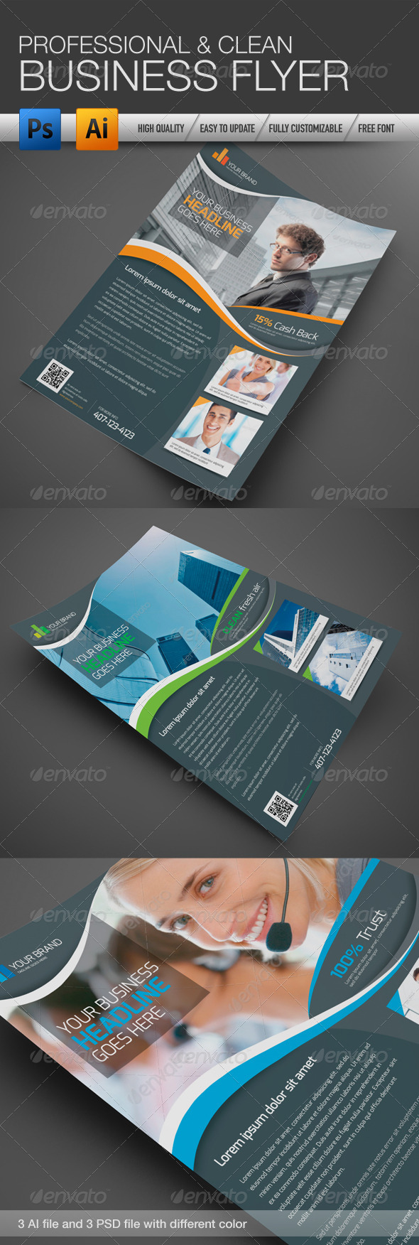 GraphicRiver Professional and Clean Business Flyer 4291713