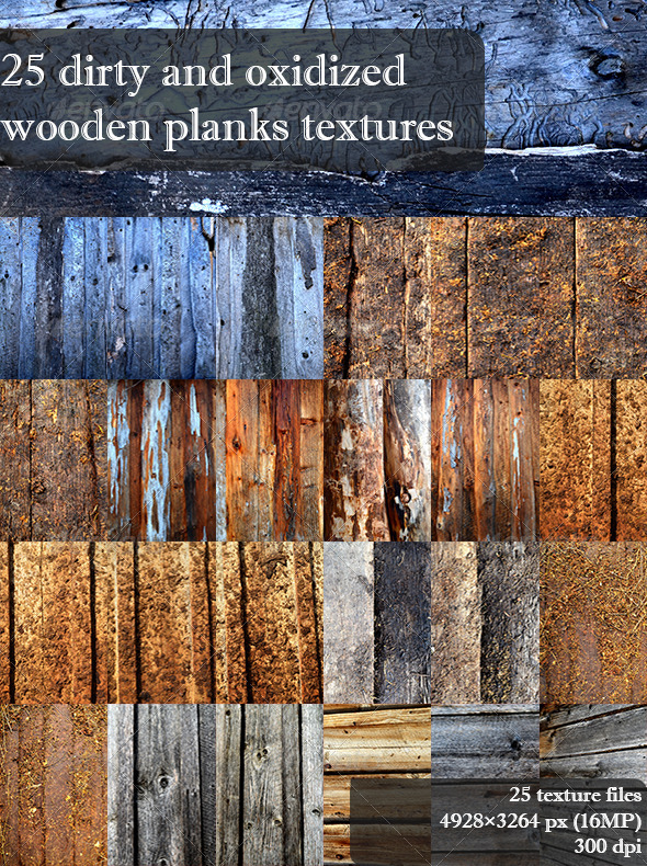 GraphicRiver 25 Dirty and Oxidized Wooden Planks Textures 4291769