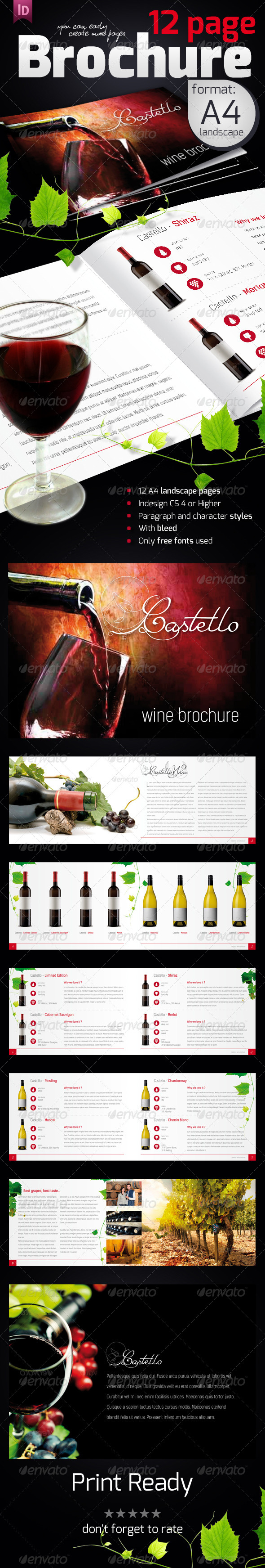 Wine catalog indesign template stock for Wine brochure template free