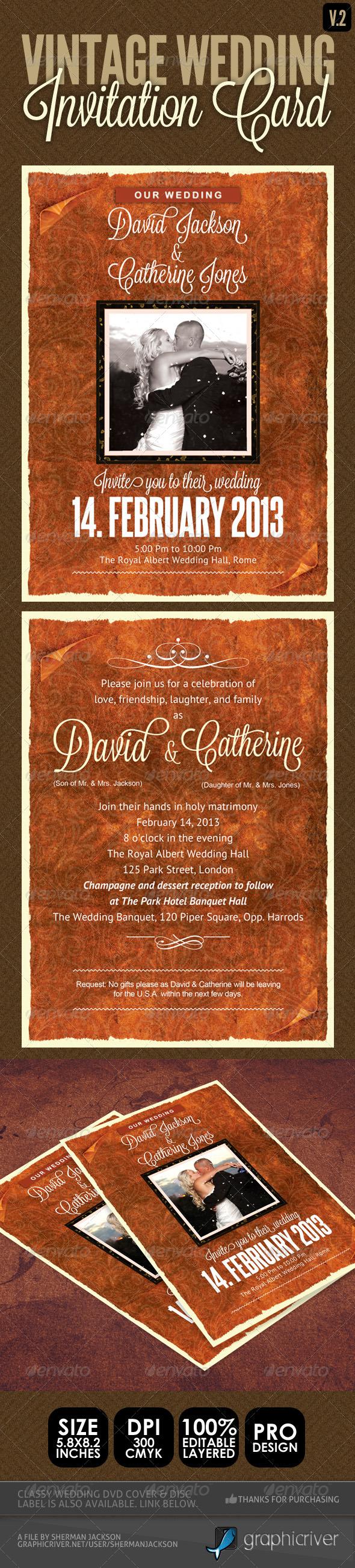 GraphicRiver Vintage Wedding Invitation Card V.2 4008371