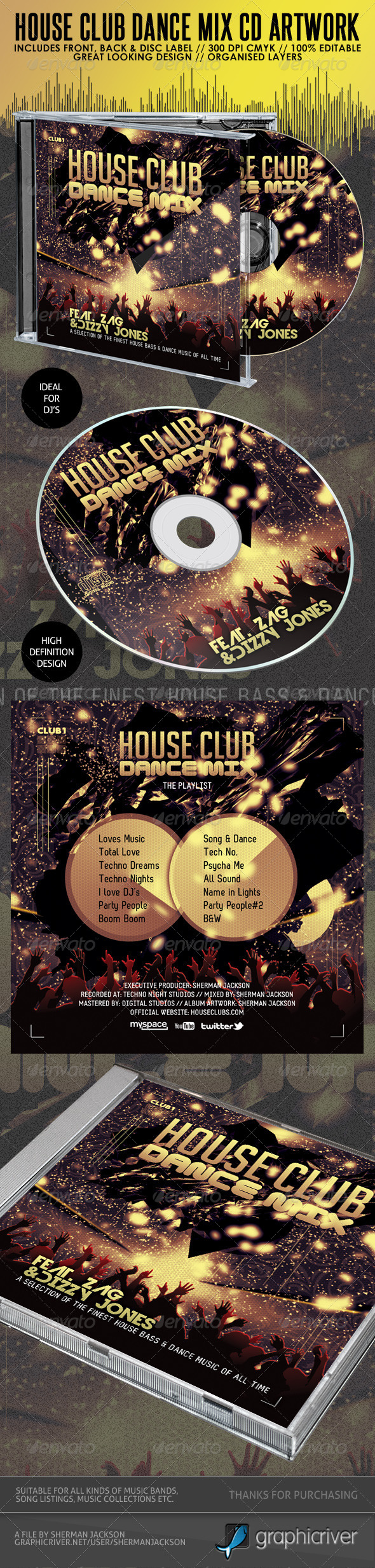 House Club & Dance Mix CD Album Artwork - CD & DVD artwork Print Templates