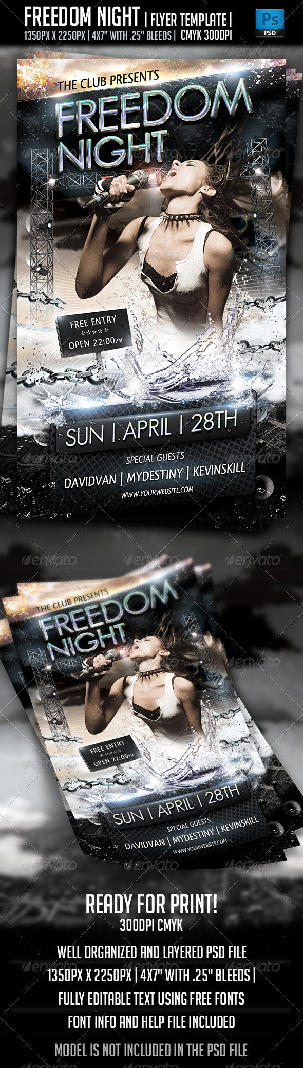 GraphicRiver Freedom Night Flyer Template 4018211