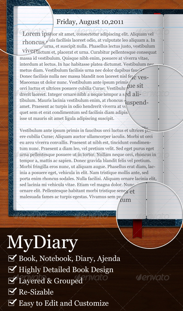 MyDiary-Open Book and Diary Mockup - Objects Illustrations
