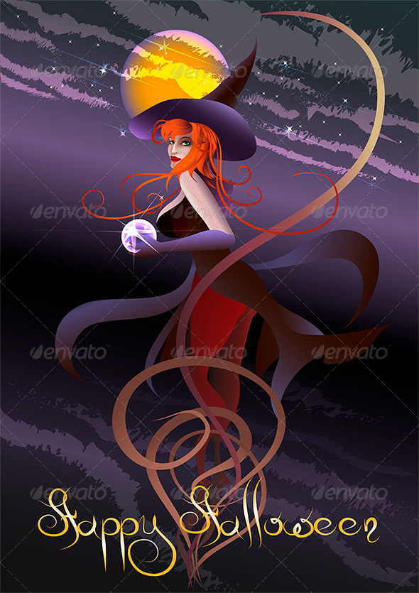 GraphicRiver The Witch with a Crystal Ball 4294016