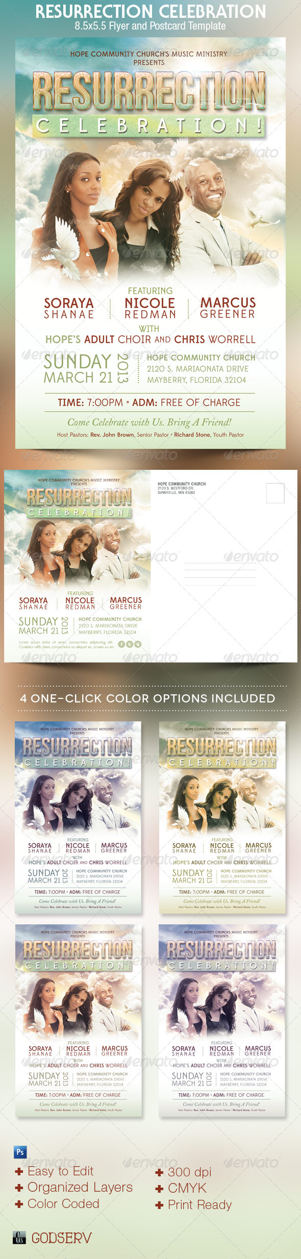 GraphicRiver Resurrection Celebration Church Flyer Template 4294130
