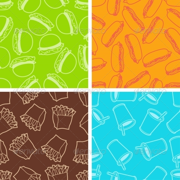 GraphicRiver Fast Food Seamless Patterns in Retro Style 4294831