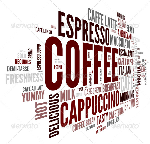 Coffee concept in word tag cloud - Stock Photo - Images