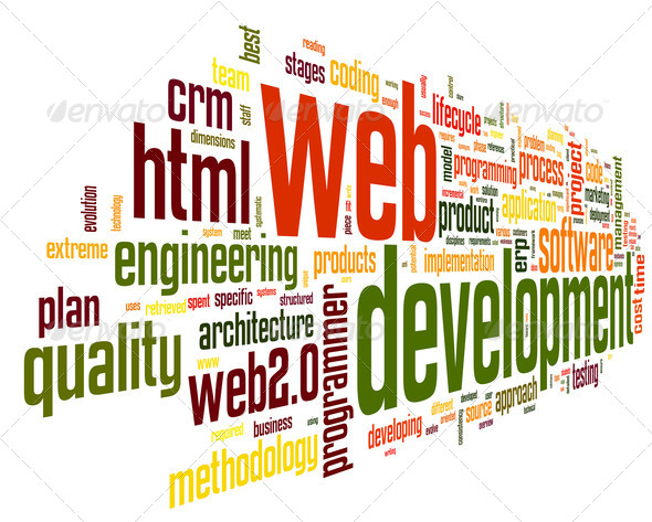 Web development concept in word tag cloud - Stock Photo - Images