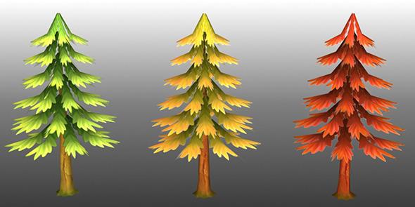 3DOcean Lowpoly Trees Toon pack 4 4298749