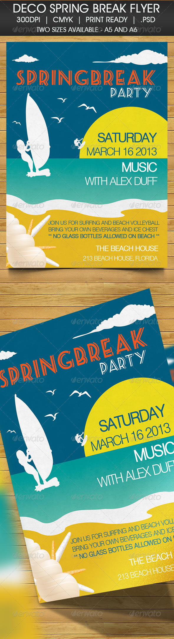 GraphicRiver Deco Spring Break Beach Party Invitation 4126301