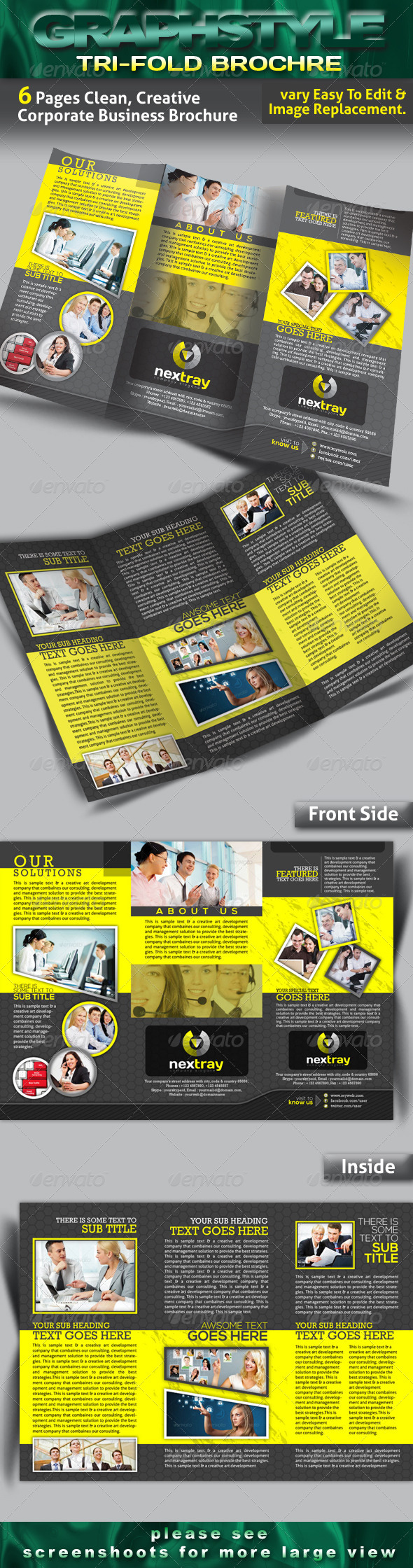 nextray Tri-fold Corporate Business Brochure - Brochures Print Templates