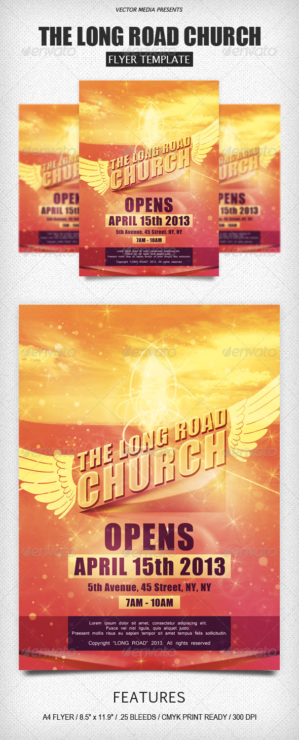 GraphicRiver The Long Road Church Flyer 4109965