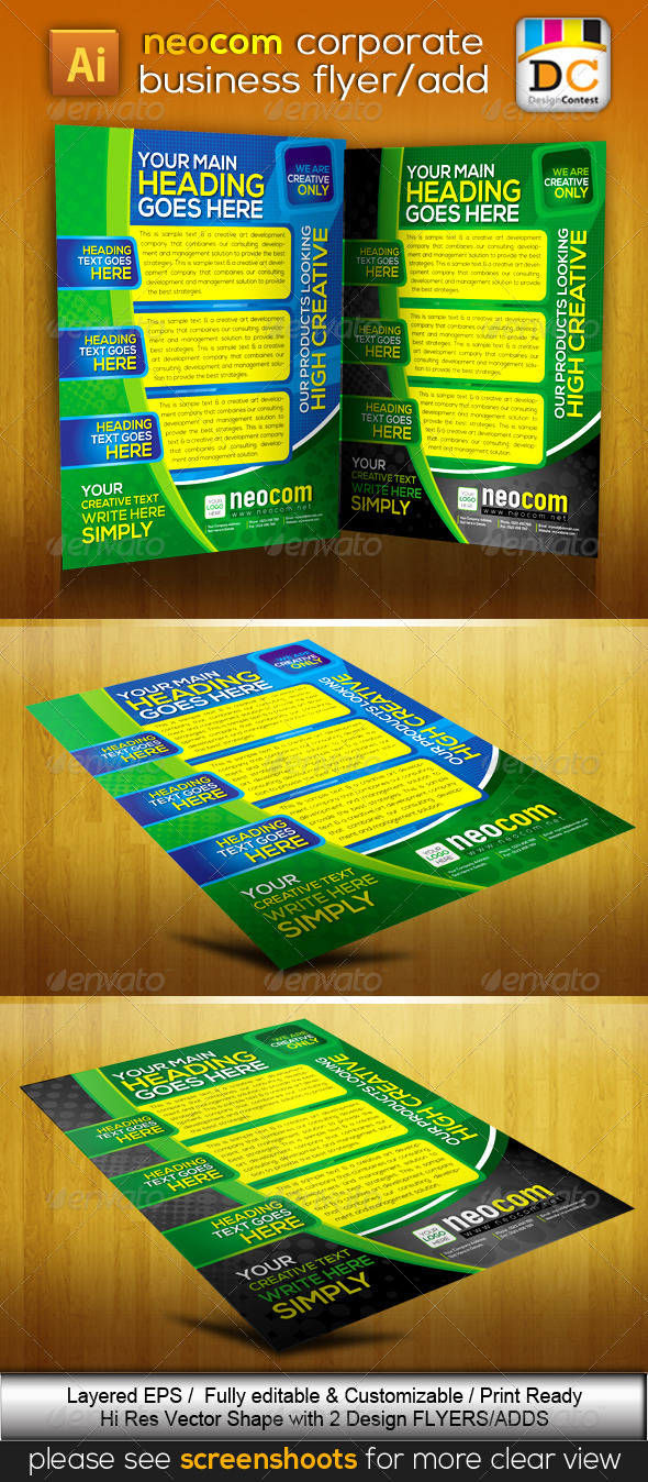 GraphicRiver NeoCom Corporate Business Flyers Adds 4068164