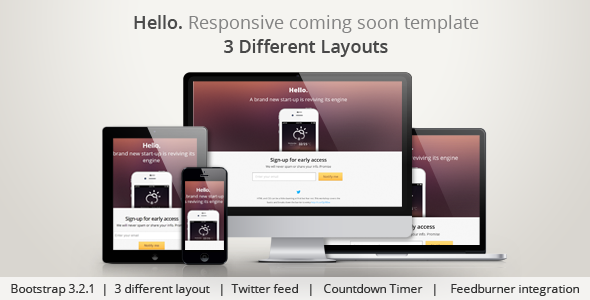 ThemeForest Hello Responsive Coming Soon Template 4300129
