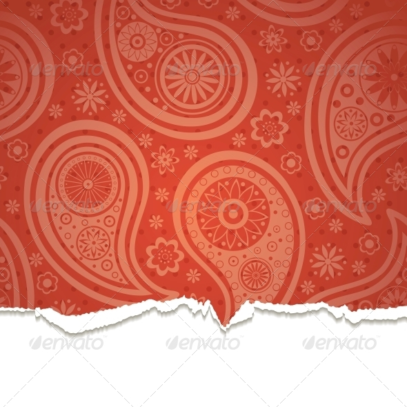 GraphicRiver Torn Paper with a Paisley Pattern 4300301