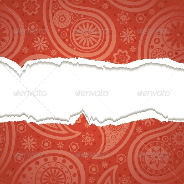 GraphicRiver Torn Paper with a Paisley Pattern 4300304