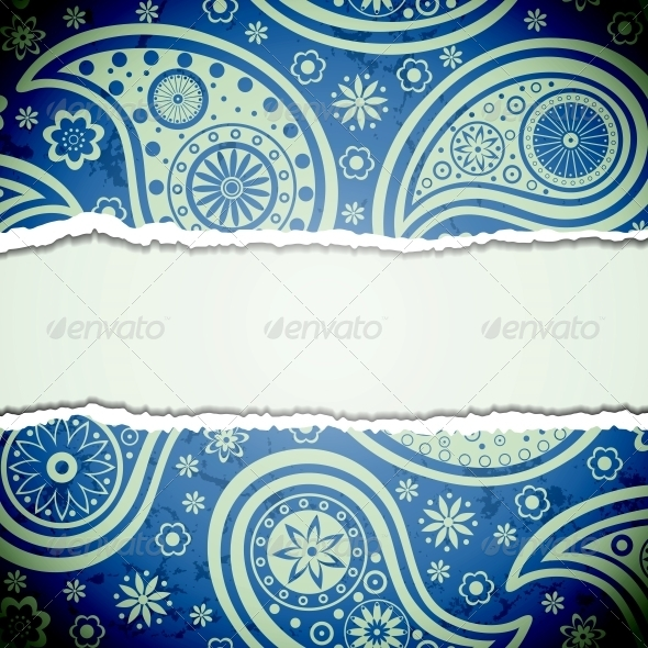 GraphicRiver Torn Paper with a Paisley Pattern 4300437