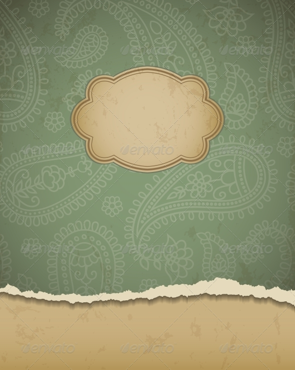 GraphicRiver Torn Paper with a Paisley Pattern 4300446