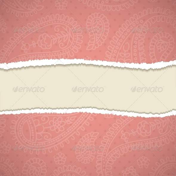 GraphicRiver Torn Paper with a Paisley Pattern 4300521