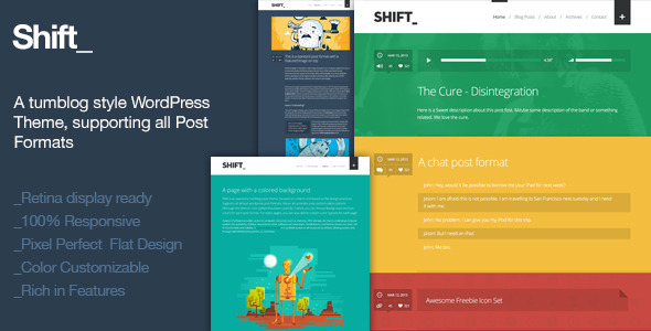 ThemeForest Shift A Tumblog Style WordPress Blogging Theme 4301599