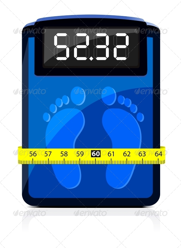 GraphicRiver Bathroom Scale with a Measuring Tape 4301748