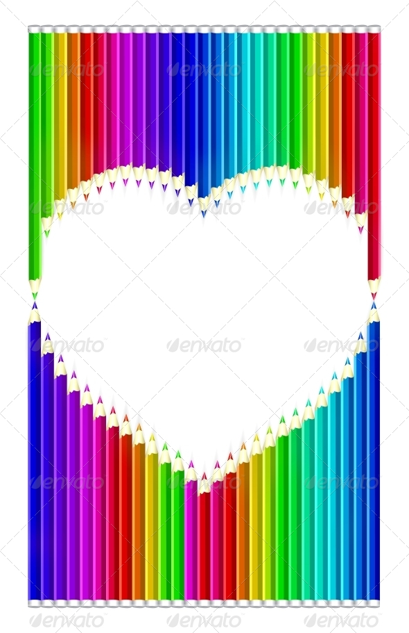 GraphicRiver Color Pencils Heart Shaped 4301799