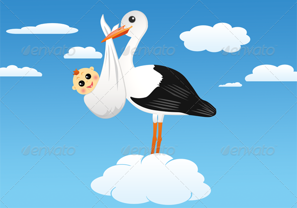 GraphicRiver Stork with Baby 4065993