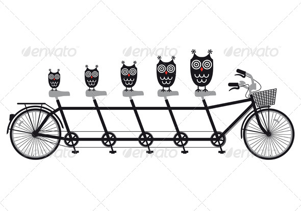 GraphicRiver Owls On Tandem Bicycle Vector 4303450