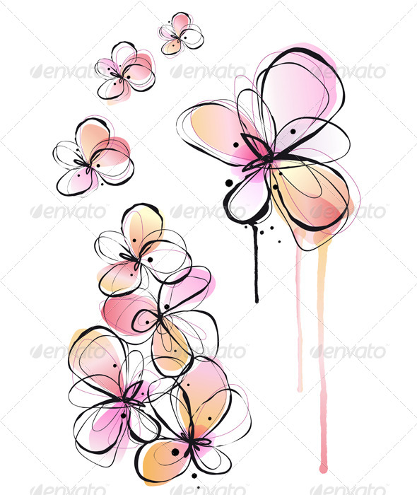 GraphicRiver Abstract Watercolor Flowers Vector 4303455