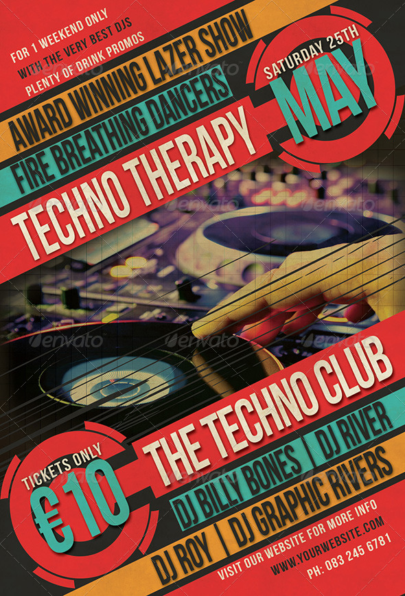 Techno Therapy Flyer - Clubs & Parties Events