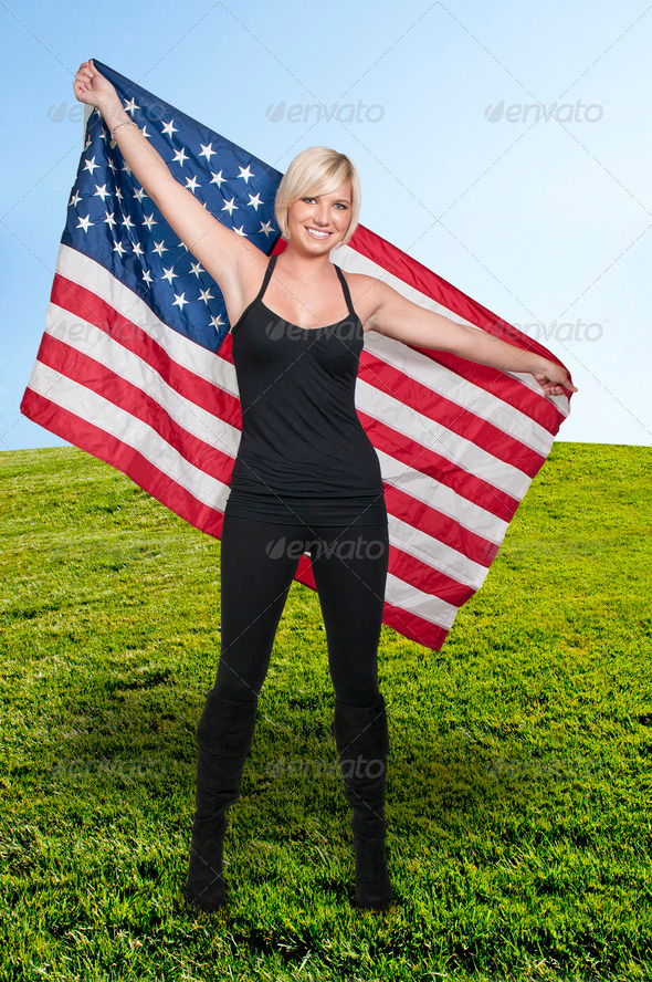 Woman with a Flag - Stock Photo - Images