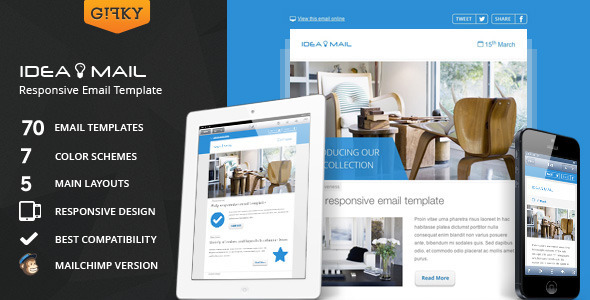 Idea Mail - Minimal & Responsive Email Template - Newsletters Email Templates